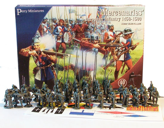In total you get 40 bodies, and can make up to 12 crossbowmen and 12 handgunners, plus 18 pikemen (12 of which you can convert to halberds). All for £20. Bargain.