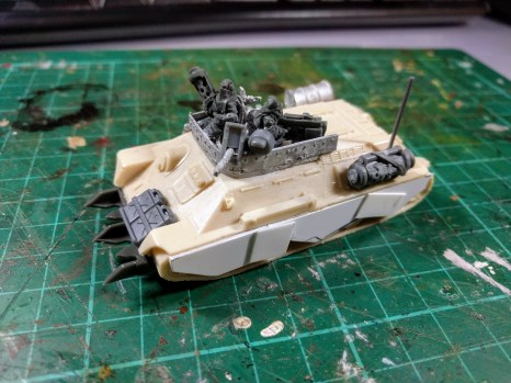 Parts include 28mm cullen prongs and the ring mount from a halftrack, 15mm oil drums, and 20mm crew and guns