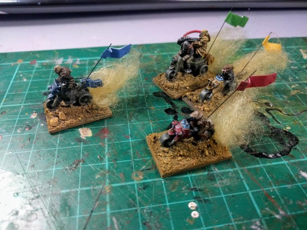 The bikes can be a little difficult to tell apart during a game, so I've added coloured pennants