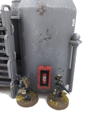 The fire extinguishers are printed, and the boxes they're mounted in are some leftover MDF parts
