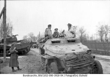 1944, many 251/10s removed the large gun shield as it marked it as a command vehicle. The dead Sherman behind it was not likely knocked out by this vehicle.