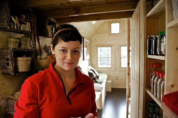 Malissa in the tiny house