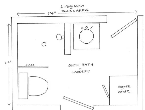 two bathroom laundry ideas within the footprint of a small on combined bathroom laundry floor plans id=13269