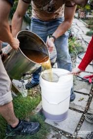 15) Strain and pour into the fermentation vessel