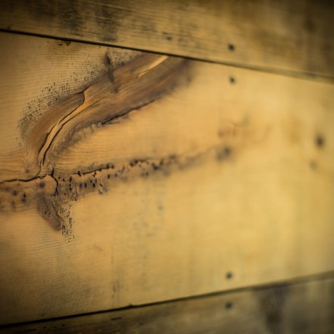 Reclaimed barnwood accent wall and trim