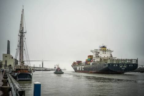 Cargo Ships on the Savannah River