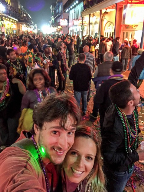 Walking in Burbon St Mardi Gras
