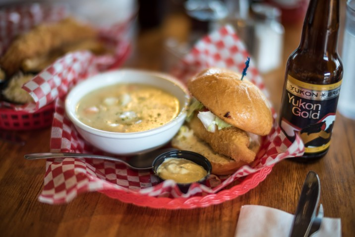 Halibut Burger and Chowder