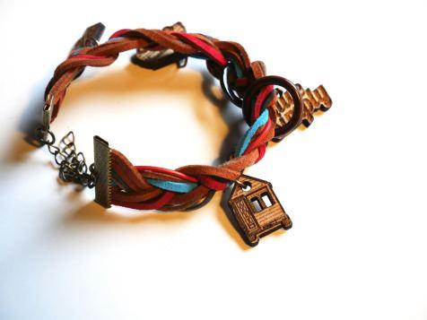 Simple Braid, Bronze Metal, Multi-Colored