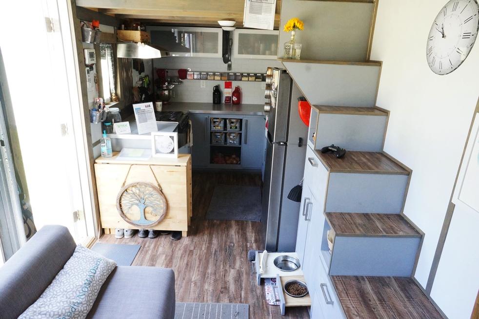 Tiny house kitchen with full size range and fridge