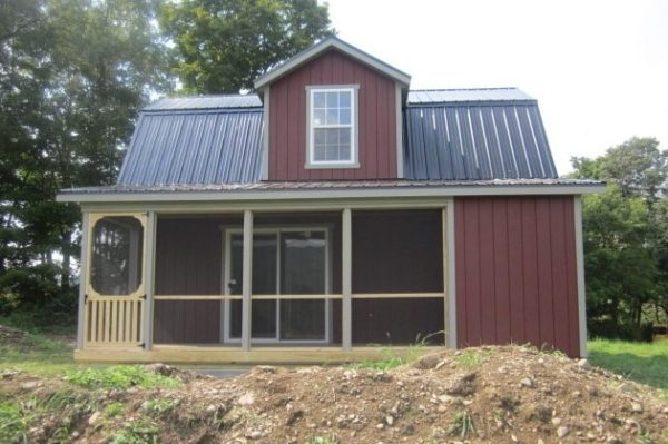 Do It Yourself Home Design: 18'x24' Two Story Dutch Cabin Shell With 6' Porch