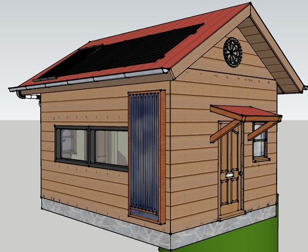 192 sq ft off grid tiny cabin design for Small off grid home plans