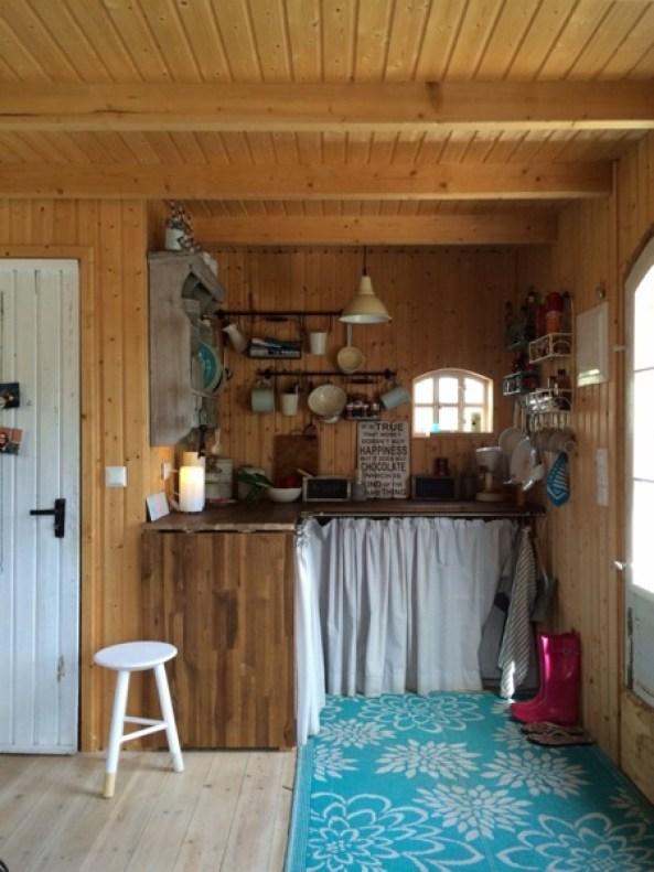 small kitchen inside garden cottage