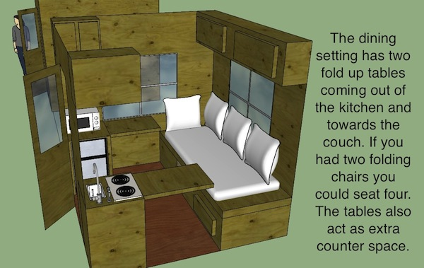 8x8 Micro Cabin Dining Setup