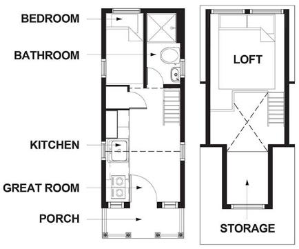 Atticus Tiny House Floor Plan at Mt Hood Village
