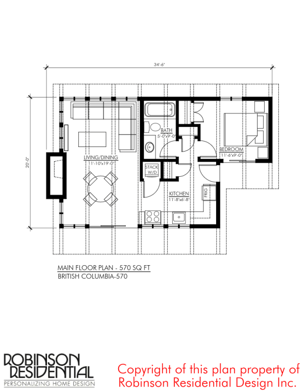 570 sq. ft. british columbia small foundation home plans