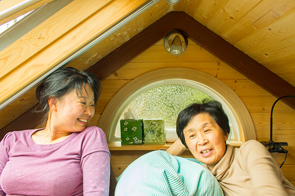Candice and Baoying in the sleeping loft.