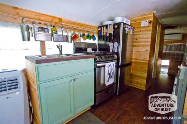 Couple's Adventure or Bust Converted School Bus Tiny Home