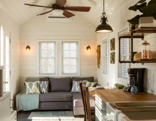Nice Living Space with Full Size Couch and Fan Overhead - Really Nice Cottage Look and Feel - Love It!