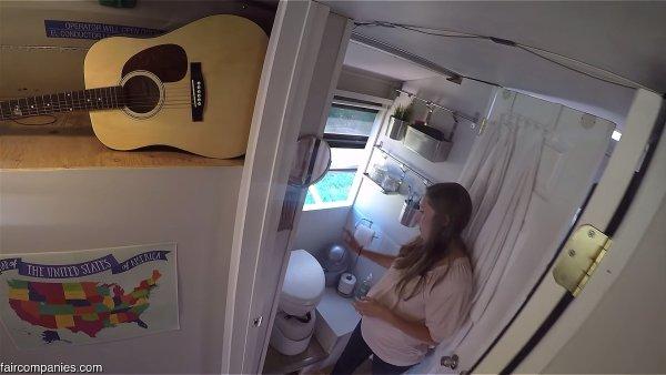 Familys Converted City Bus Bathroom