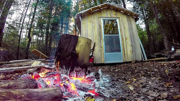 Father and Son Build 160 Dollar Bunkhouse Cabin 001