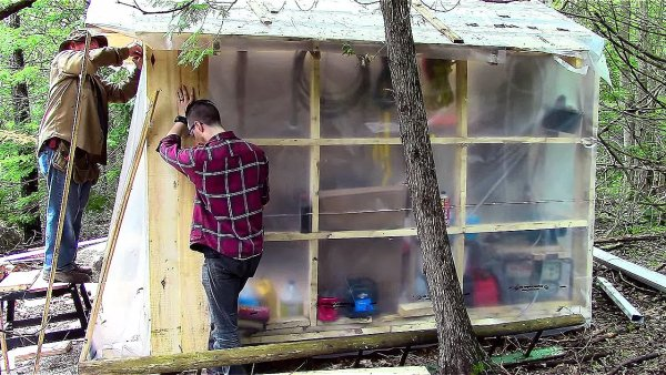 Father and Son Build 160 Dollar Bunkhouse Cabin 0011