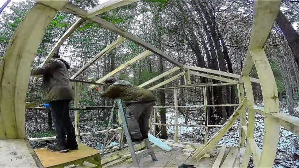 Father and Son Build 160 Dollar Bunkhouse Cabin 009