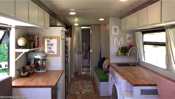 Kitchen Area in Familys City Bus Conversion