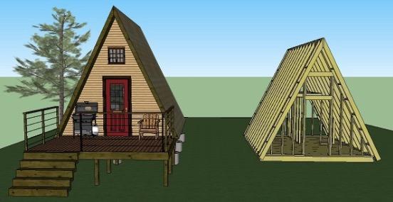 14u0027x14u2032 Tiny A Frame Cabin Plans By LaMar Alexander