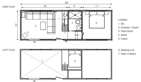 475 sq ft solo 36 bunkie modern tiny cabin for Bunkie floor plans