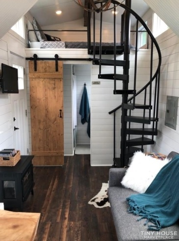 Tiny House With Spiral Staircase To The Master Loft | Wooden Spiral Staircase For Sale | 3 Floor | Twist | Wrought Iron | 36 Inch Diameter | Free Standing