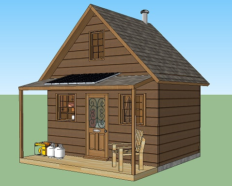 280 Sq Ft Solar Powered Off Grid Cabin With Covered
