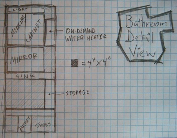 Anthony's 8x8 Tiny House Design the Bathroom Details