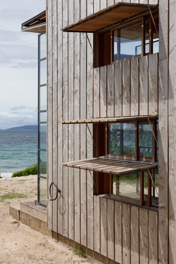 Built in Windows Covers on Small Modern Beach Home