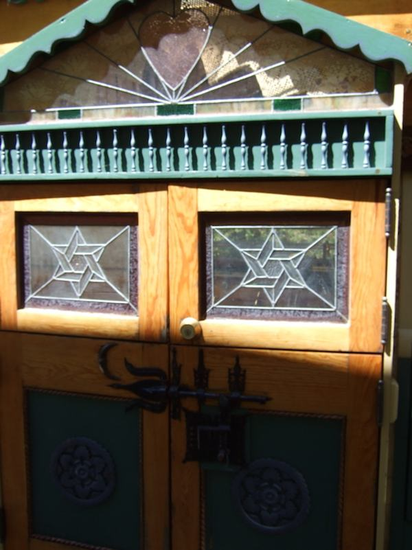 Doors with Stained Glass to Tiny House Bus