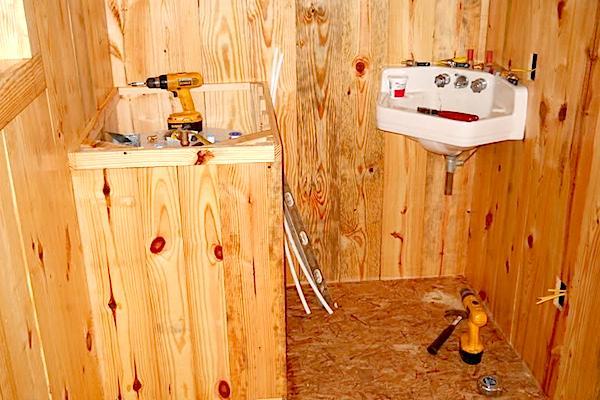 Free Recycled Corner Sink for Bathroom that Gene found in a Yard