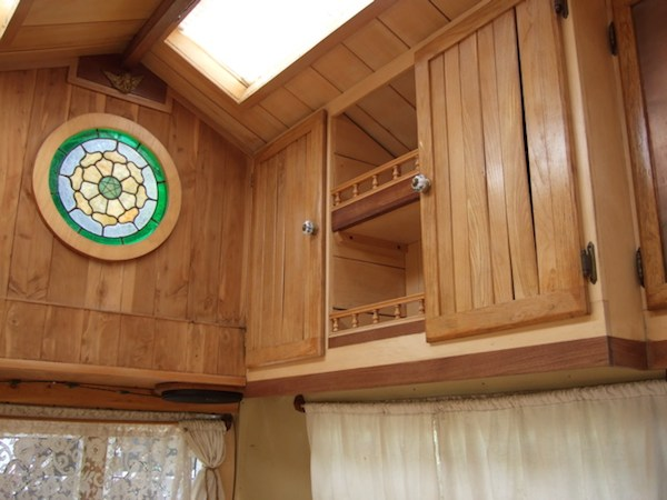 Interior of Tiny House Bus Camper with Custom Made Topper