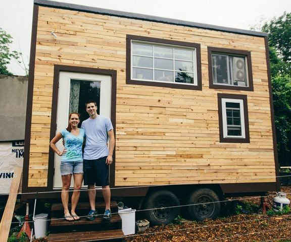 Couple build mortgage free 129 sq ft tiny home for Build a tiny house online
