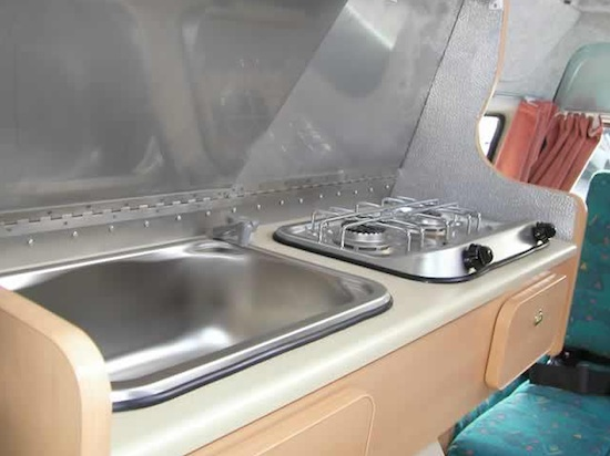 Kitchen in a Piaggio Motorhome by JC Leisure