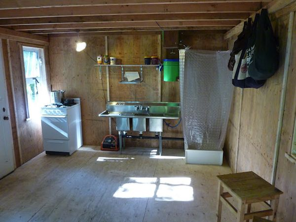 Kitchen, Shower and Gravity Fed Water System in Off Grid Tiny Cabin