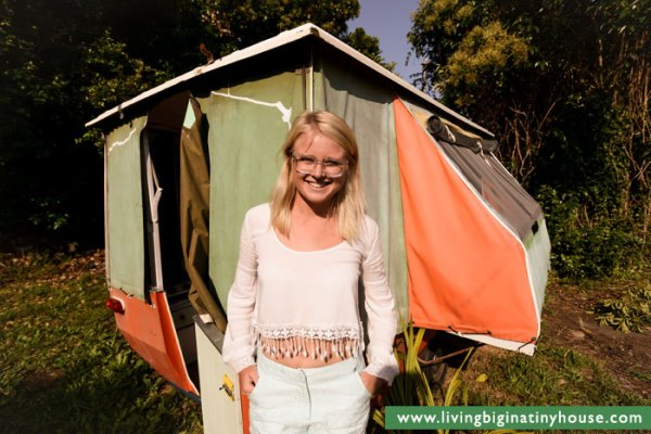 Living In A Pop Up Camper : Woman Escapes High Rent with $1000 Tiny Pop-up Camper
