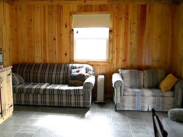 Living Room and Kitchen Area in Small Cabin