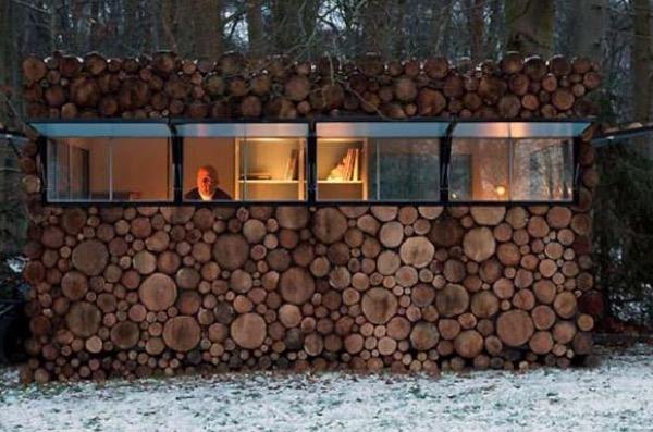 micro log cabin at night