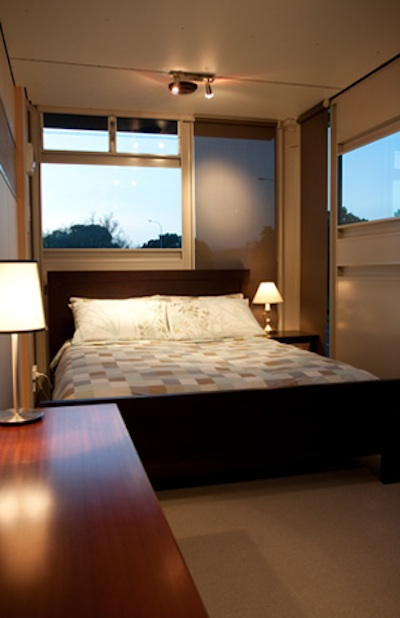 Bedroom in the modern shipping container house