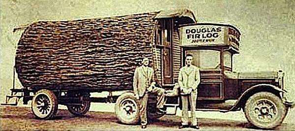The Original Tiny House on Wheels: Douglas Fir Log Motorhome.. one of the firsts!