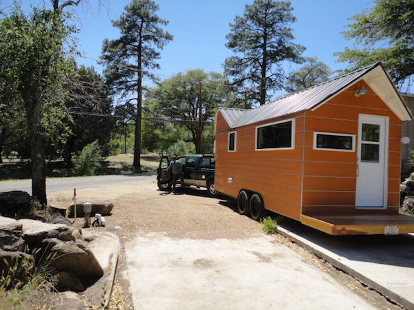 Backing up Tiny Home onto Concrete Pad