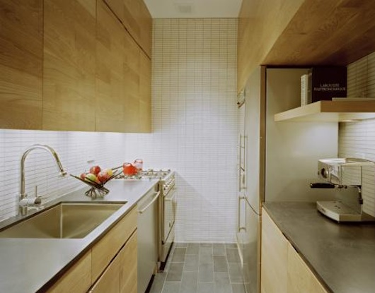 Interior of a little kitchen in a small apartment design