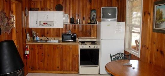 Kitchen inside Small Rustic Cabin at Lake Cumberland