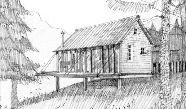 Small Cabin with Folding Porch