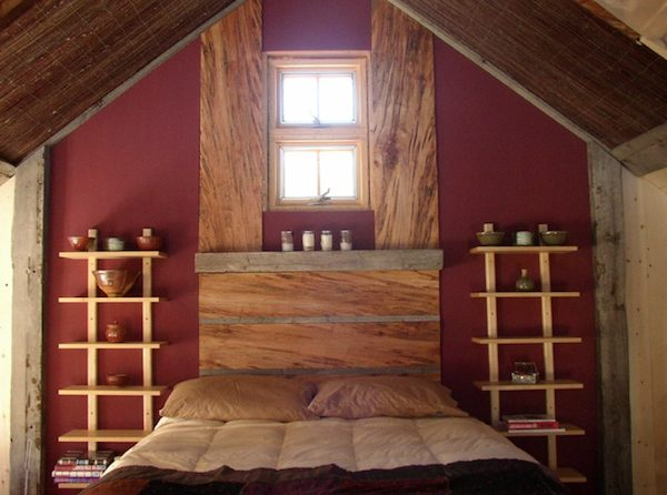 Bedroom in Small Rustic Cabin